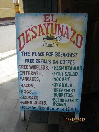 El Desayunazo: The short list of menu items available outside the front door.