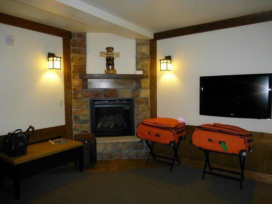 The Haber Motel: Room with fireplace and flat screen