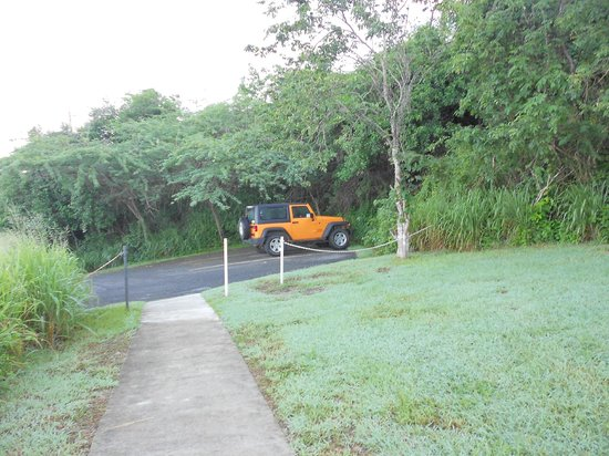 Tamarindo Estates Beach Apartments: driveway from suite and Carlos Jeep (GET ONE).