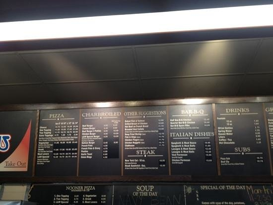L & W Pizza & Spaghetti House: Menu Section