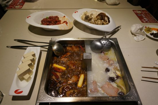 BeiJing Haidilao Hot Pot (Wangfujing): Broths & meats/ veggies