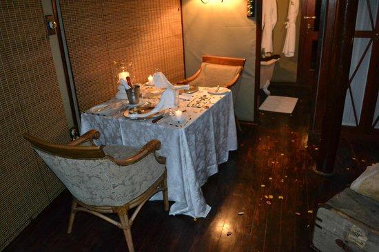 Hamiltons Tented Safari Camp: Suprise anniversary dinner in room