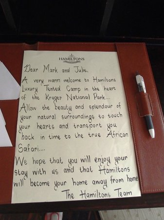 Welcome letter - Picture of Hamiltons Tented Safari Camp ...