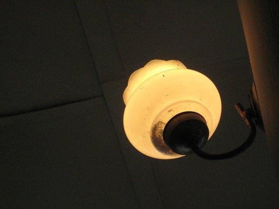 Queens Hotel: Unclean light fixture. Years of moths in it!