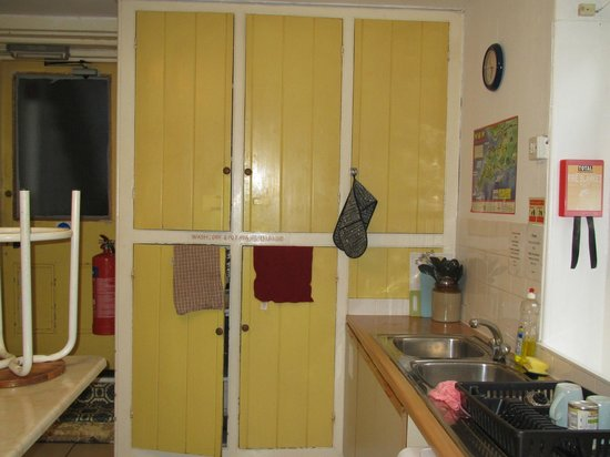 Penzance Backpackers: Shared Kitchen pots/pan cupboard