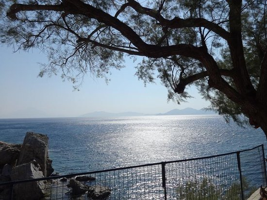 Agriolykos Pension: view from the garden across to Samos