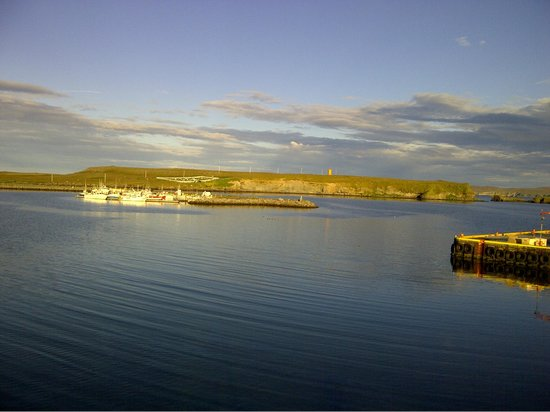 Hotel Nordurljos: A view across the harbour from the dinner table.