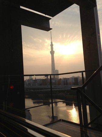 APA Hotel Asakusa Kuramae: 朝日に輝く東京スカイツリー
