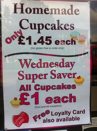 Claires Cupcakes: special offer every Wednesday!!