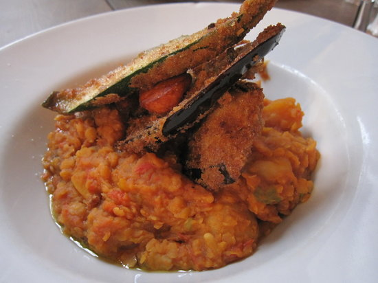 Spicy lentil stew with aubergine fritters picture of for Aubergine cuisine nottingham