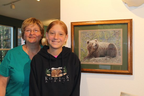 A Smiling Bear B&B: Darlene, our daughter, and a smiling bear