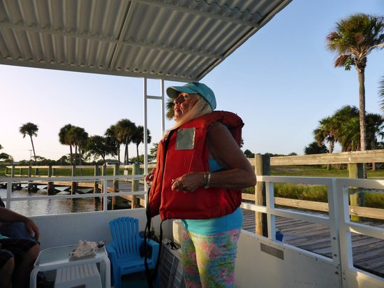 Space Coast River Tours: Michele's Safety Talk and Life Jacket Demonstration