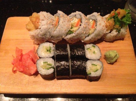 Yoshi Sushi : Veg tempura roll and cucumber maki
