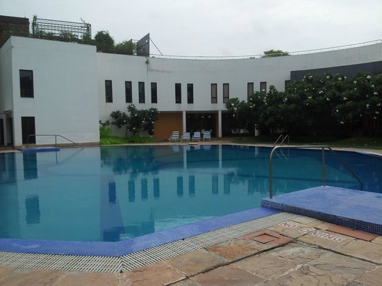 The Ffort Raichak: Swimming Pool and the Gym in white at the background