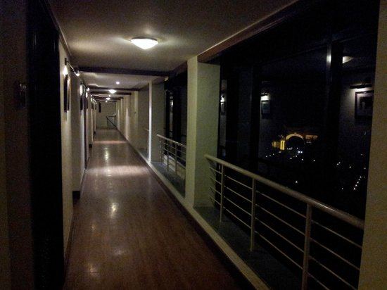 Corridors at night and the lit entrance to The Ffort Raichak