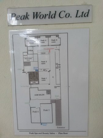 Peak Spa: The map of the rooms