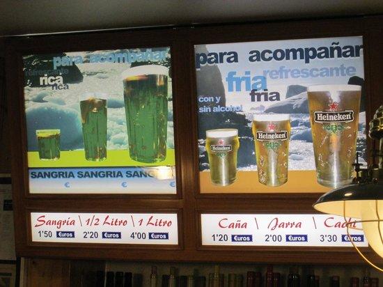 Cerveceria La Mejillonera: menù birra