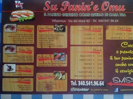 Su Panin'e Omu: carta menu