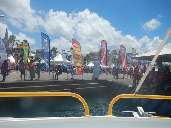 St. Lucian Wave Riders : boat dock during the sailing race!