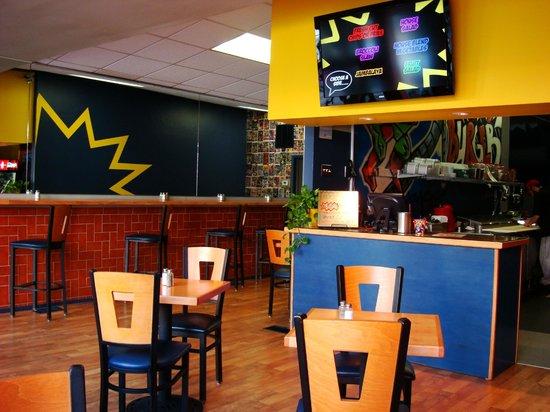 The comic book primary color decor picture of