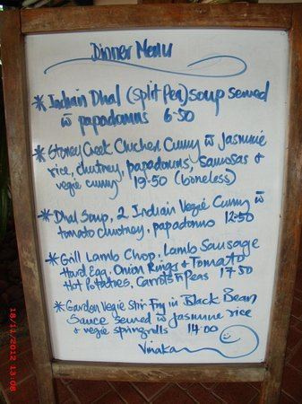 Stoney Creek: 1 of the awesome nightly menu's