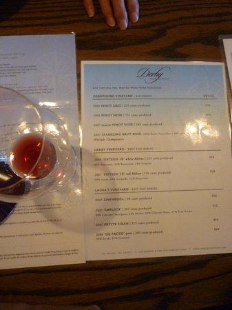 Derby Wine Estates: Derby Menu