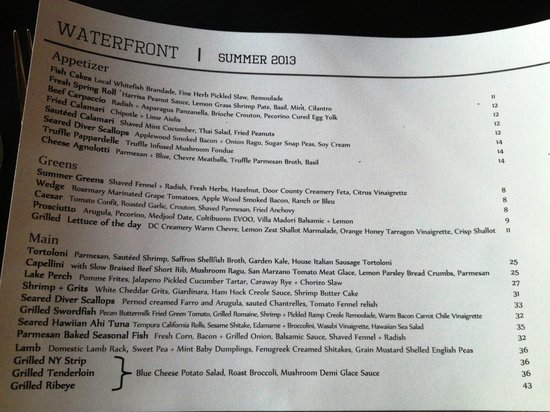 Waterfront Restaurant: menu