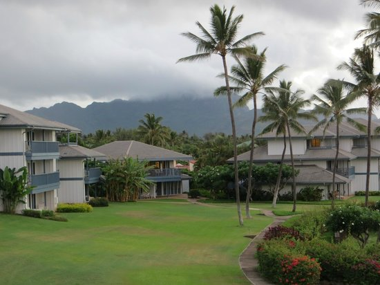 Poipu Sands Condominuims: Misty morning, Poipu Sands grounds