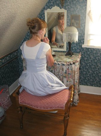 The Garden Cottage Bed and Breakfast: I even tucked items under the skirt of the vanity.