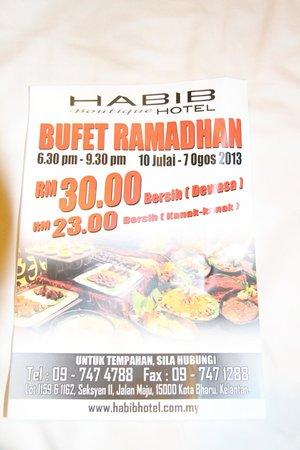 Jewels Hotel: Folder Rhamadan buffet