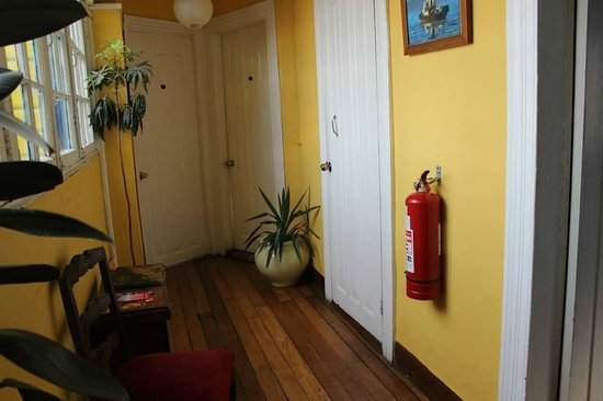 The Yellow House: the hallway- the door at the back there is the Ocean Room- where we stayed