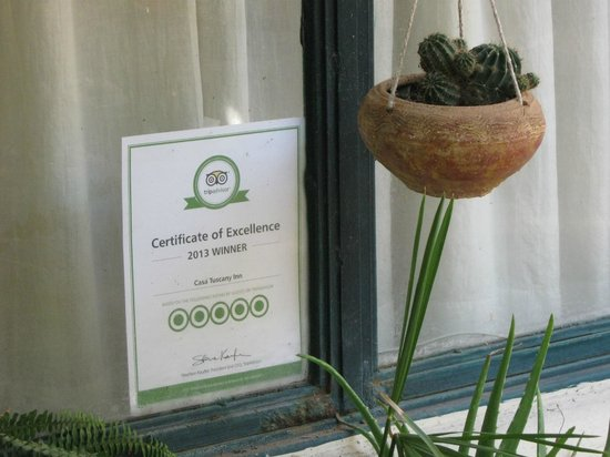 Casa Tuscany Inn: Certificate of Excellence 2013