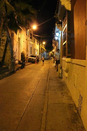 Casa Marta Cartagena: coming home from the beach to a street part outside our door in the plaza in front of Iglesia Tr