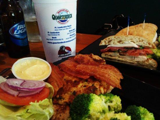 Quarterdeck: Crab Cake Club And Chicken Ciabatta Sandwiches