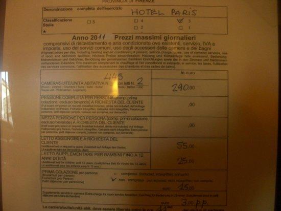 Paris Hotel: prix des chambres