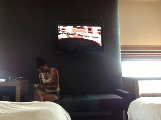 Aloft Houston by the Galleria: view frm the bed and thats my wife by the way paying me no mind..
