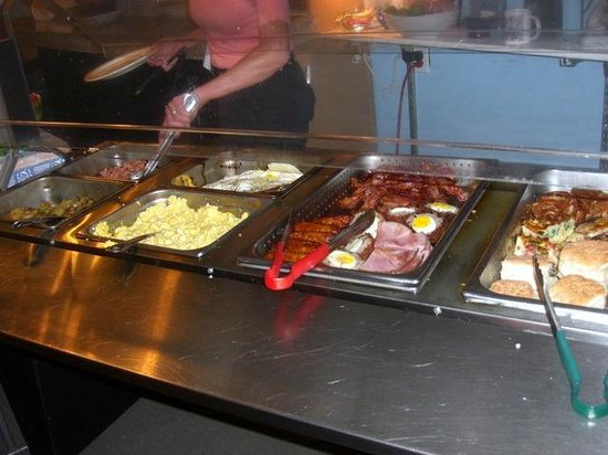 Fat Cat Cafe: A portion of the hot foods offered