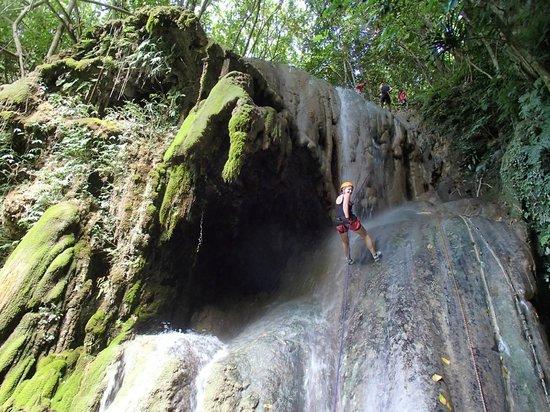Edge Vanuatu: Coming down the waterfall.