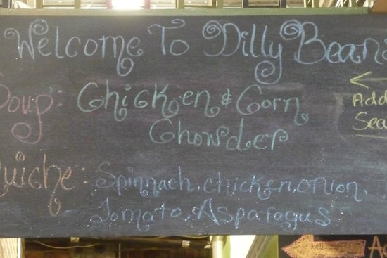 Dilly Beans chalk board