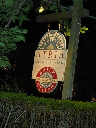 Atria: Small sign on side of Main St. - A bit short on parking but worth finding a way to get here....