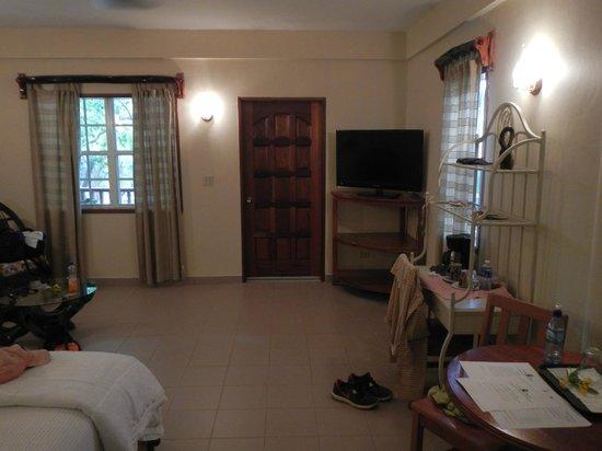Black Orchid Resort: view from bed towards door and deck