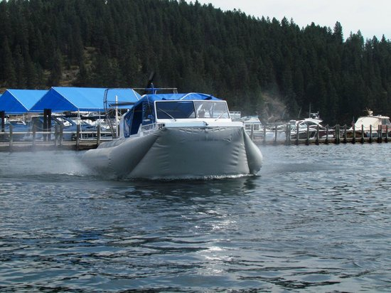 Hovercraft Rides on Lake Coeur d'Alene: Hovercraft heading away from boardwalk