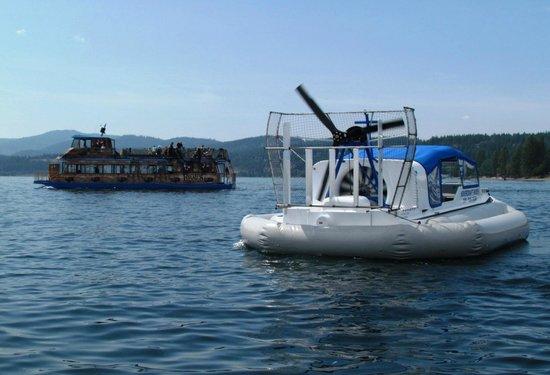 Hovercraft Rides on Lake Coeur d'Alene: Hovercraft leaving dock