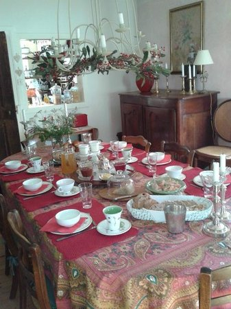 La Maison des Roses : breakfast table