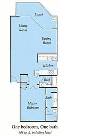 Wailea Ekolu Village Resort: One Bedroom Floor Plan