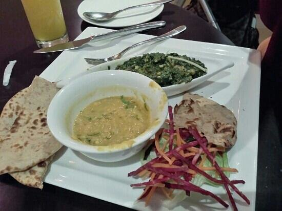 Balance Cafe: yellow lentil , Brown Indian bread & sauteed spinach