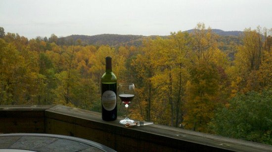Blue Mountain Escape: Enjoy a bottle of wine in the fall