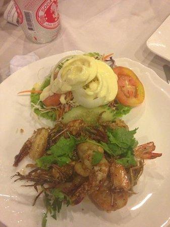 Khaosan Restaurant: crevette ail et poivre