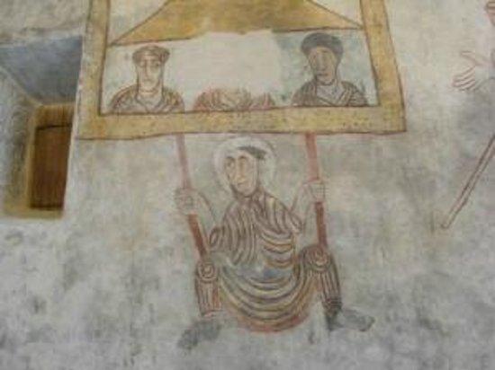 St. Prokolus Kirchlein + Museum: Particolare degli affreschi. L'uomo sull'altalena