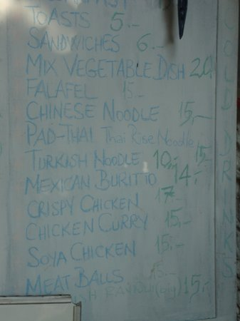 Cafe 7: the menu (august 2013)